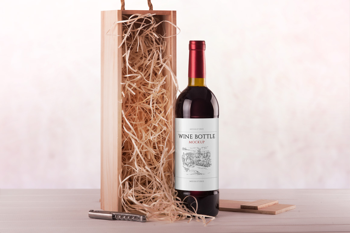 wine bottle  u0026 packaging psd mockup set