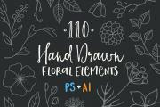 110 Hand Drawn Floral Vector Elements