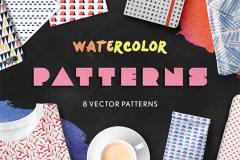 8 Seamless Watercolor Patterns