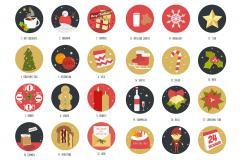 Christmas Advent Icon Set