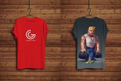 T-Shirt and Hanger Mockup on Wooden Background
