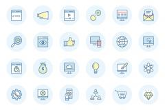 SEO Flat Line Icons Set