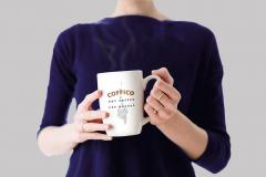 Woman Holding a Mug PSD Mockup