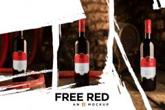 4 Red Wine Bottle Mockups