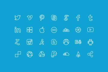 20 Outline Social Icons
