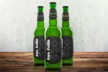 3 Beer Bottle PSD Mockups