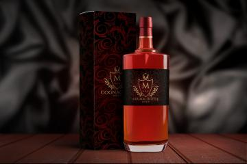 Cognac or Whiskey Bottle & Packaging PSD Mockup Set