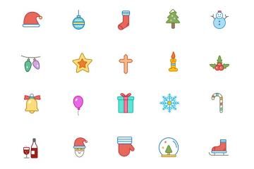 Christmas Color and Outline Icons Volume 1