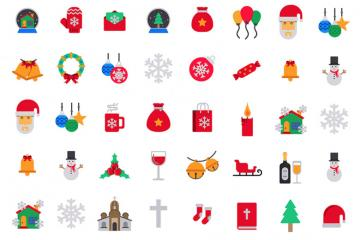 39 Colored Christmas Icons