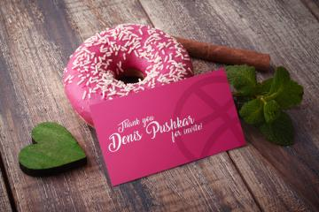 Business Card and Donut Mockup