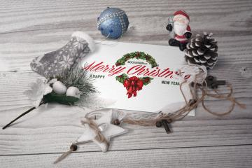 Postcard in Christmas Scenery Mockup