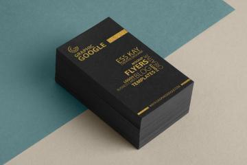 Gold Foil Business Card Stack Mockup