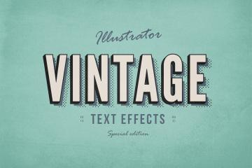 3 Vintage Illustrator Text Effects