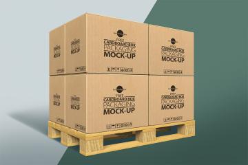 Cardboard Boxes on a Pallet Mockup