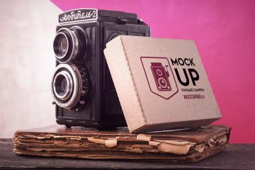 Vintage Camera and Box Mockup