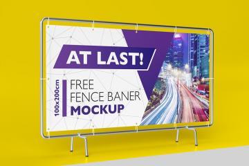 Fence Banner PSD Mockup