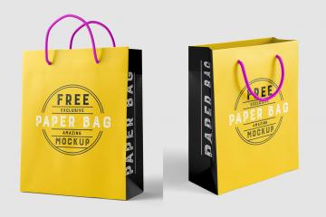 2 High-Res Paper Bag Mockups