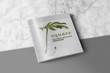 Square Magazine or Brochure Mockup Set