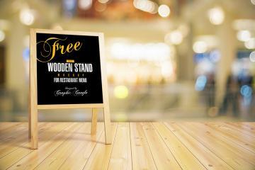 Wooden Stand Chalkboard Menu Mockup