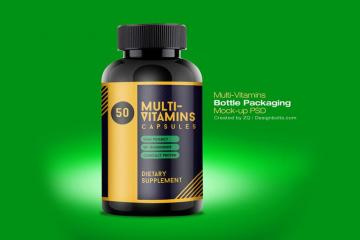 Multivitamin Bottle PSD Mockup