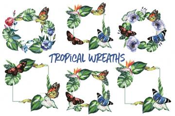 6 Tropical Wreaths and Frames