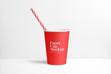 Paper Cup and Straw Mockup