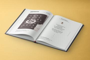 Open Book with Dust Jacket Mockup