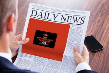 Man Reading Newspaper Mockup