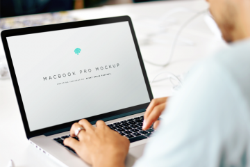 Man on Macbook Mockup