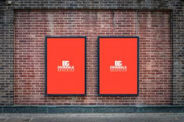 Outdoor Posters on Brick Wall Mockup