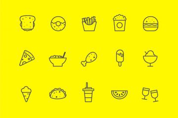 45 Food, Vegetable, and Music Line Icons