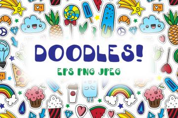 35 Cartoon Doodles Illustrations and Patterns