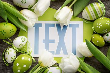 Easter Card and Flowers Mockup