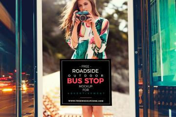 Bus Stop Billboard Mockup
