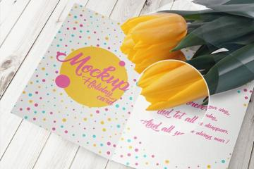 6 Spring Greeting Card Mockups