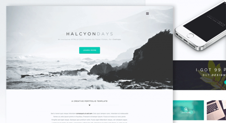 """Halcyon Days"" One Page Website Template"