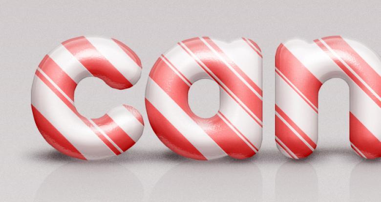 PSD Candy Cane Text Effect