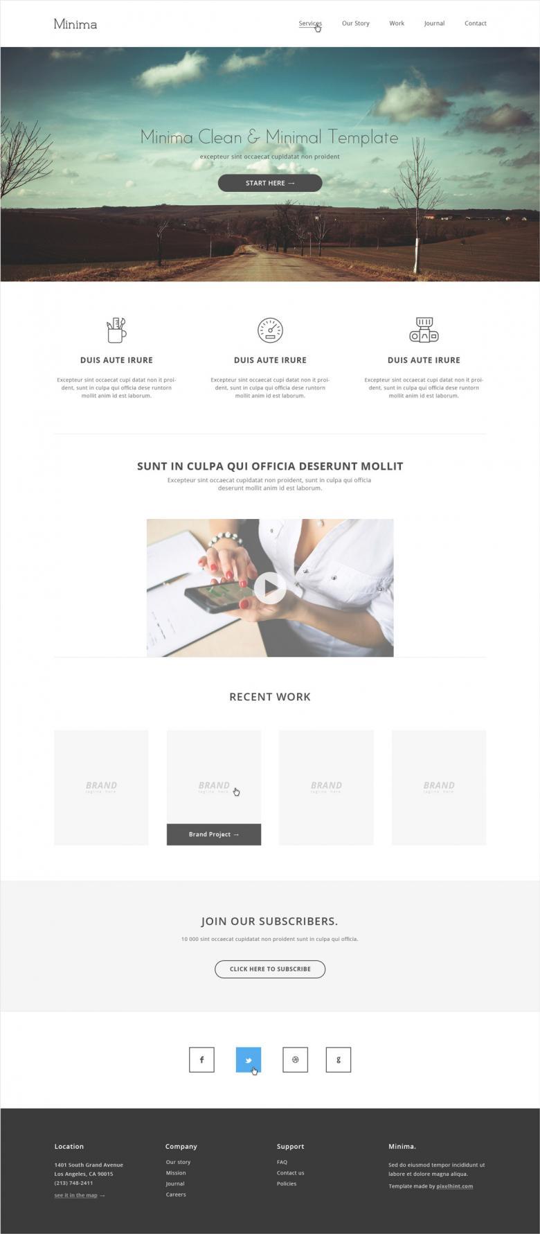 Minima minimalist HTML5/CSS3 template