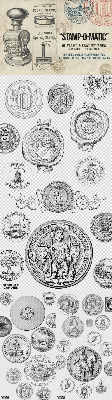 Stamp-O-Matic Vintage Stamp & Seal Brush Set