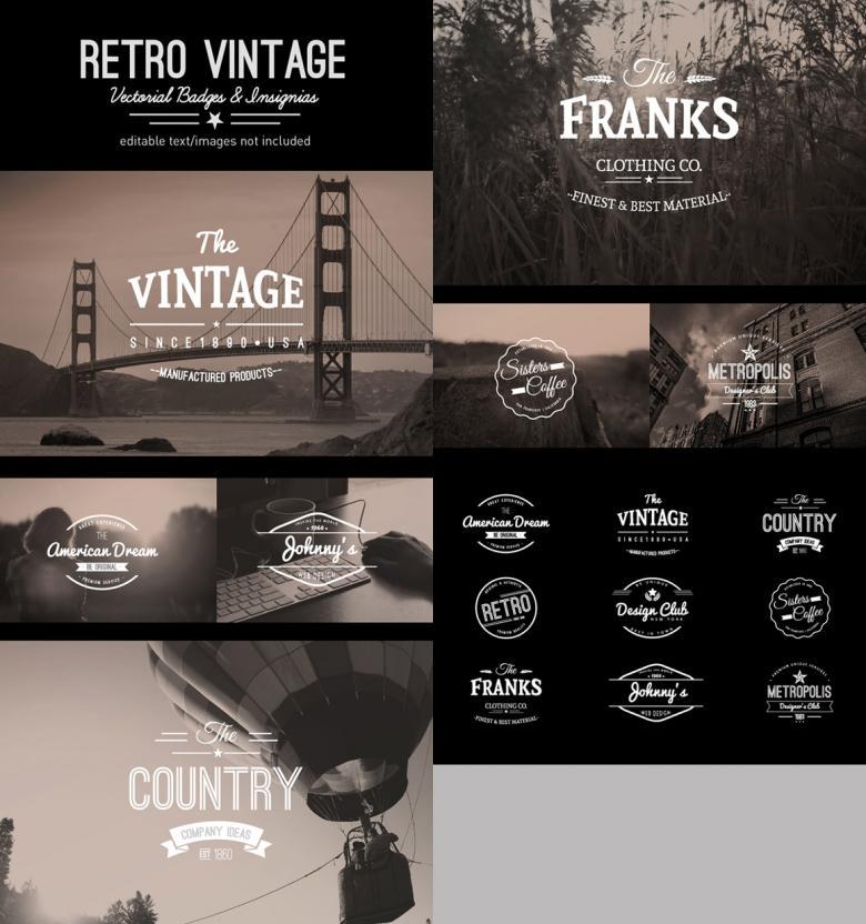 9 Retro Vintage Insignias