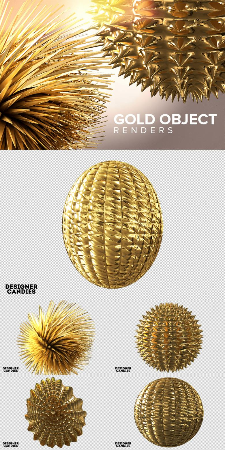 Free Gold Object Renders