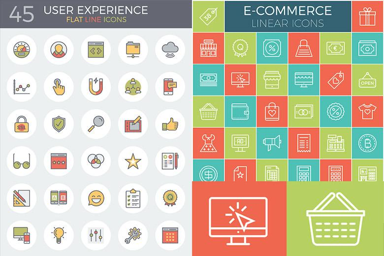 Flat Line UX and E-Commerce Icon Sets
