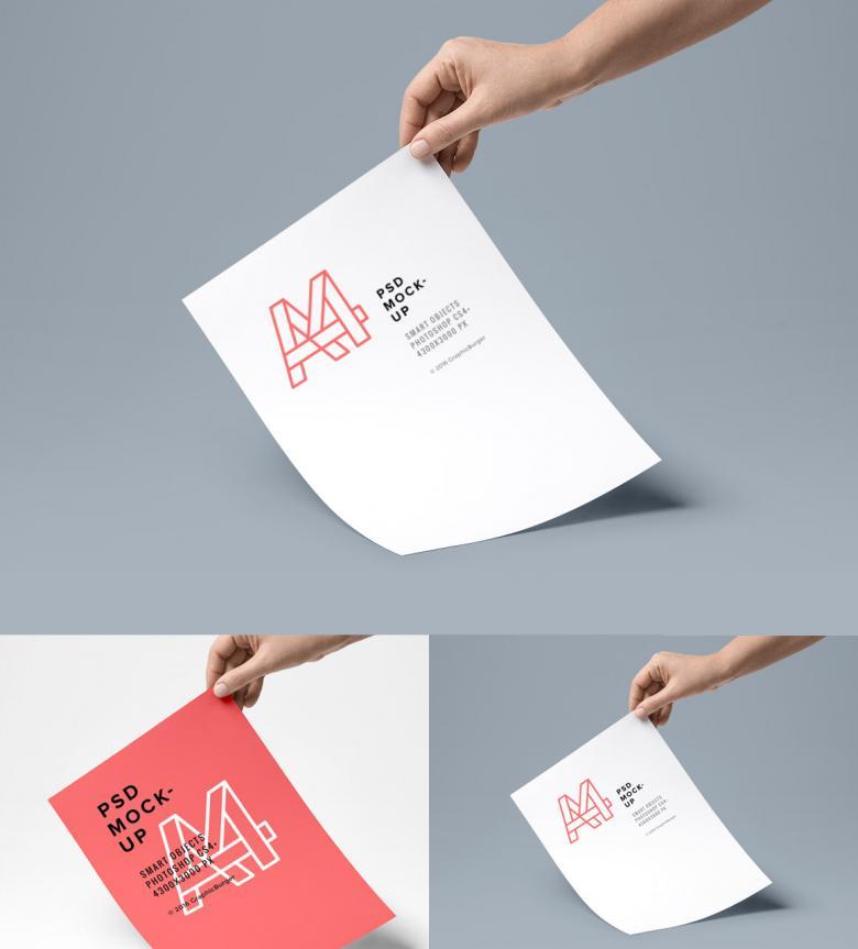 A4 Paper PSD Mockup #4