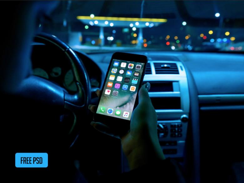iPhone 7 in a Car Mockup