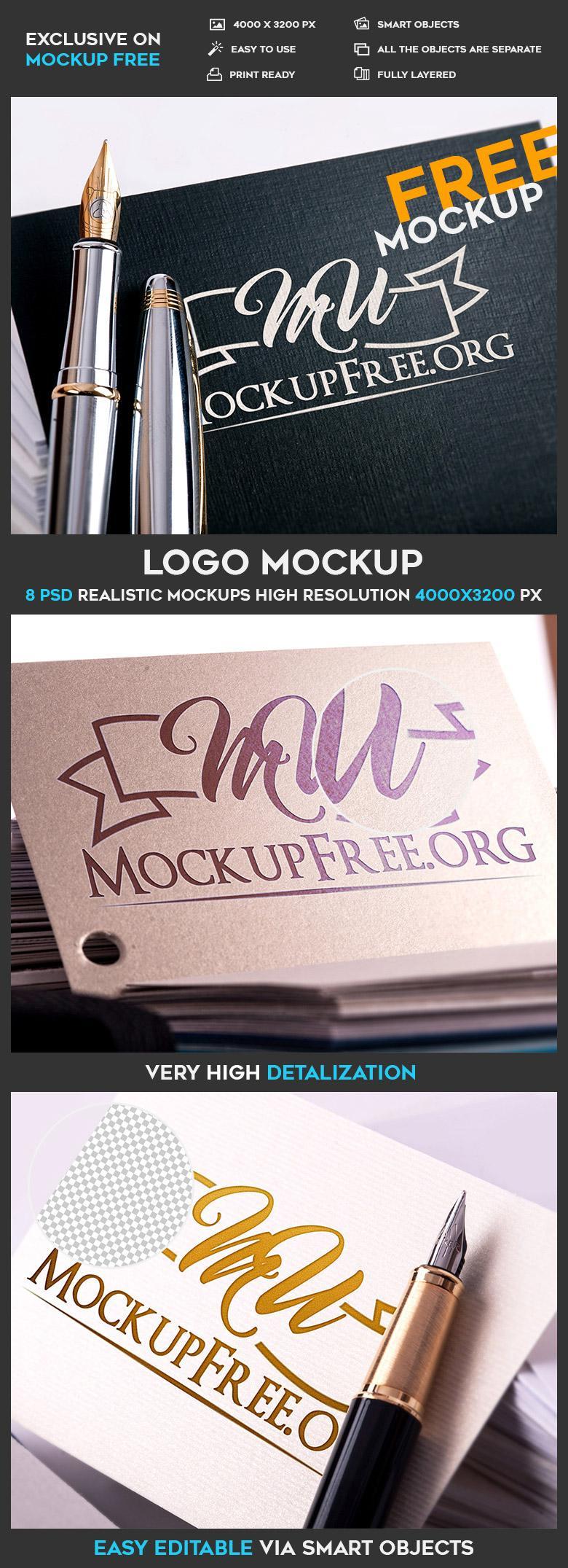 8 Free Photorealistic Logo Mockups
