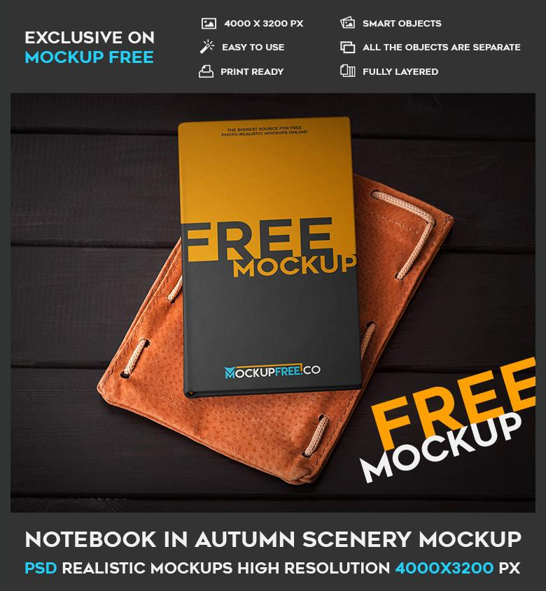Notebook on Leather Pouch PSD Mockup