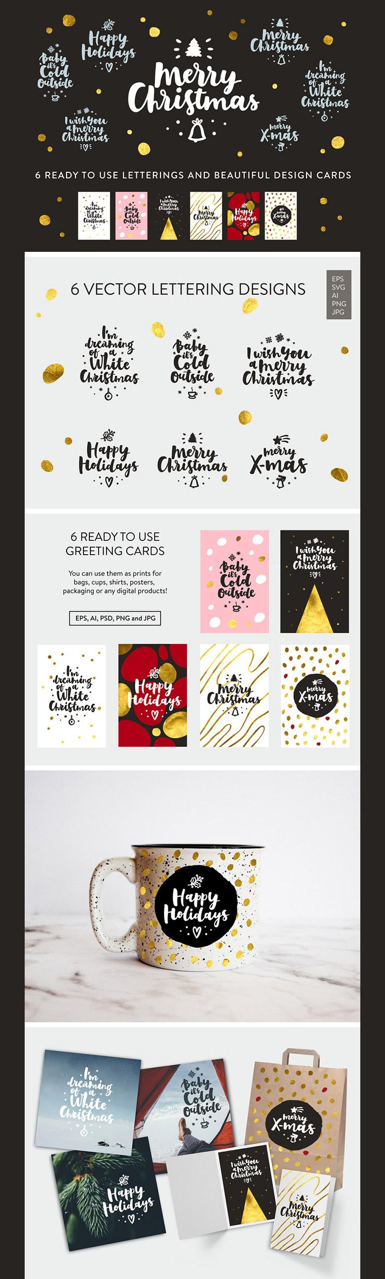 Merry Christmas Typography Vector Pack