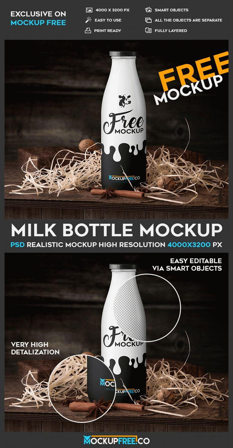 Milk Bottle Packaging PSD Mockup