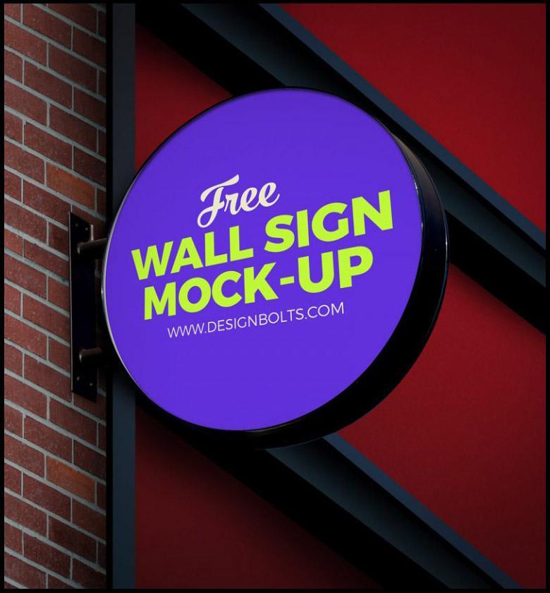 Circular Wall Sign Mockup