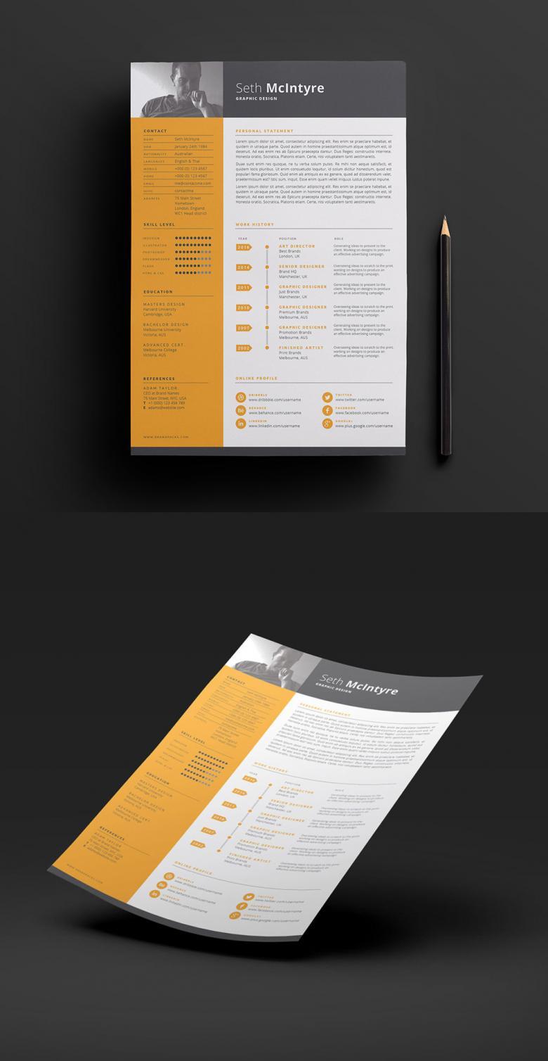 Clean, Single Color CV Template